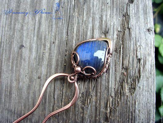Заколки ручной работы. Ярмарка Мастеров - ручная работа. Купить Я в синеву любимых глаз смотрю (медная шпилька с лабрадором). Handmade.