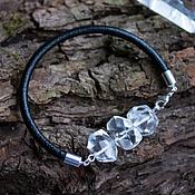 Украшения handmade. Livemaster - original item Bracelet with rock crystal, quartz, leather bracelet, minimalist. Handmade.
