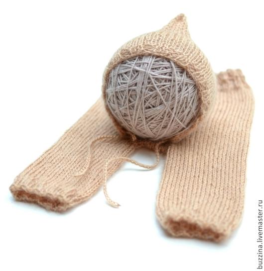 Для новорожденных, ручной работы. Ярмарка Мастеров - ручная работа. Купить чепчик для новорожденного + штанишки для фотосессии реквизит. Handmade.