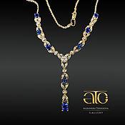 Украшения handmade. Livemaster - original item Gold necklace with sapphires and diamonds. Five hundred eighty five.. Handmade.
