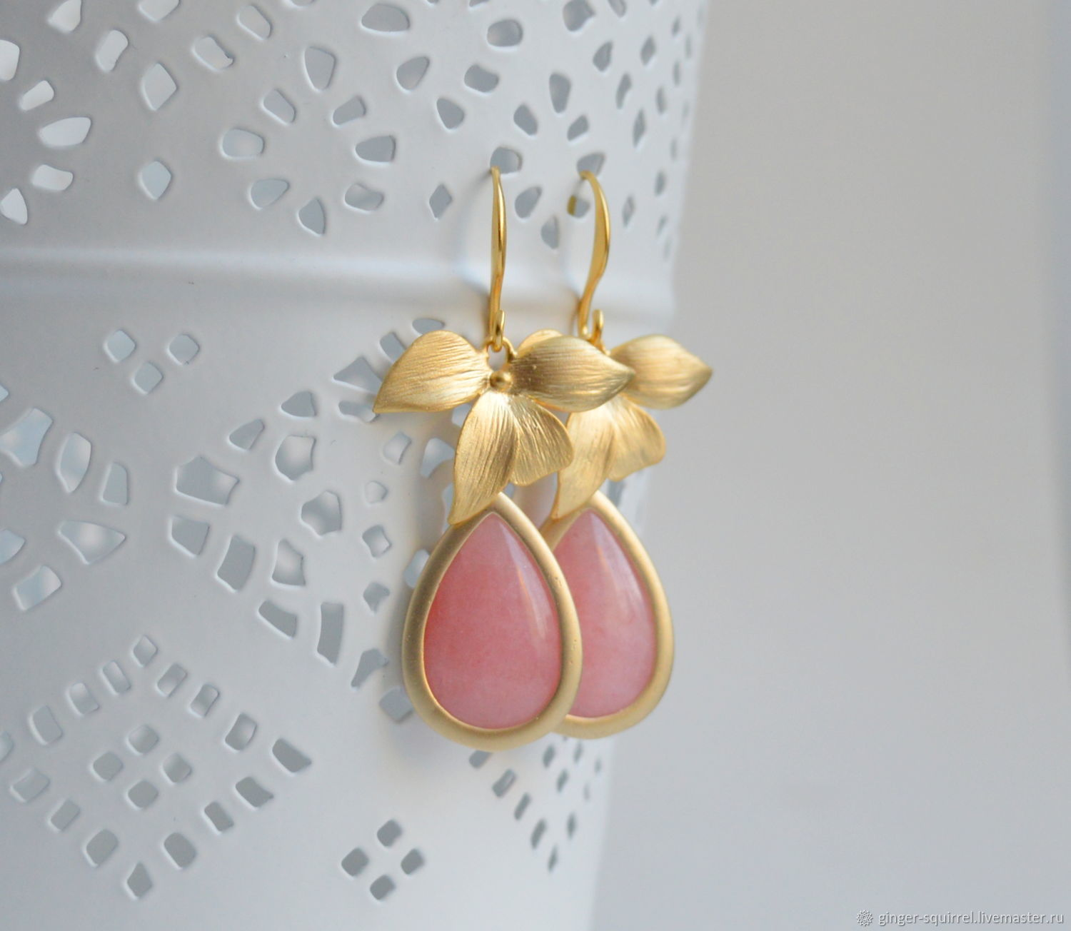 Earrings with pink chalcedony. The leaves of orchids, Earrings, St. Petersburg,  Фото №1