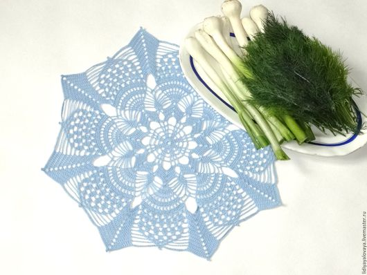 Текстиль, ковры ручной работы. Ярмарка Мастеров - ручная работа. Купить Кружевная салфетка крючком №35. Handmade. Голубой, укроп
