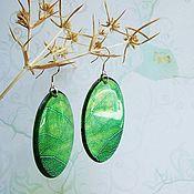 Украшения handmade. Livemaster - original item Transparent Resin Earrings from Green Leaf Forest Nature Boho Style. Handmade.