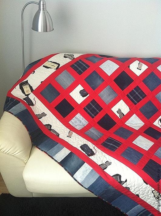 """Текстиль, ковры ручной работы. Ярмарка Мастеров - ручная работа. Купить ,,Виват, Деним! """". Handmade. Лоскутное покрывало"""