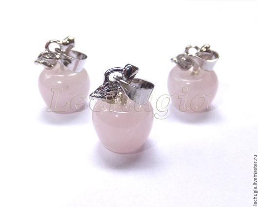 """Для украшений ручной работы. Ярмарка Мастеров - ручная работа. Купить Подвеска """"Яблоко"""" из розового кварца, 10 мм. Handmade."""