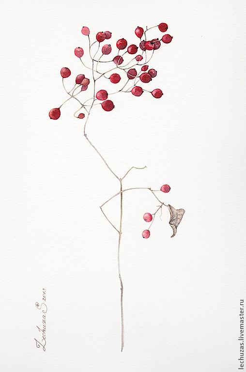 Красные ягоды, картина акварелью, Маркина Светлана ( LechuzaS )