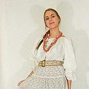 Русский стиль ручной работы. Ярмарка Мастеров - ручная работа Рубашка широковоротка белое на белом.. Handmade.