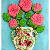 Сувениры и подарки handmade. Livemaster - original item Gingerbread Birthday. Set of gingerbread Bouquet of roses in a vase in VA. Handmade.