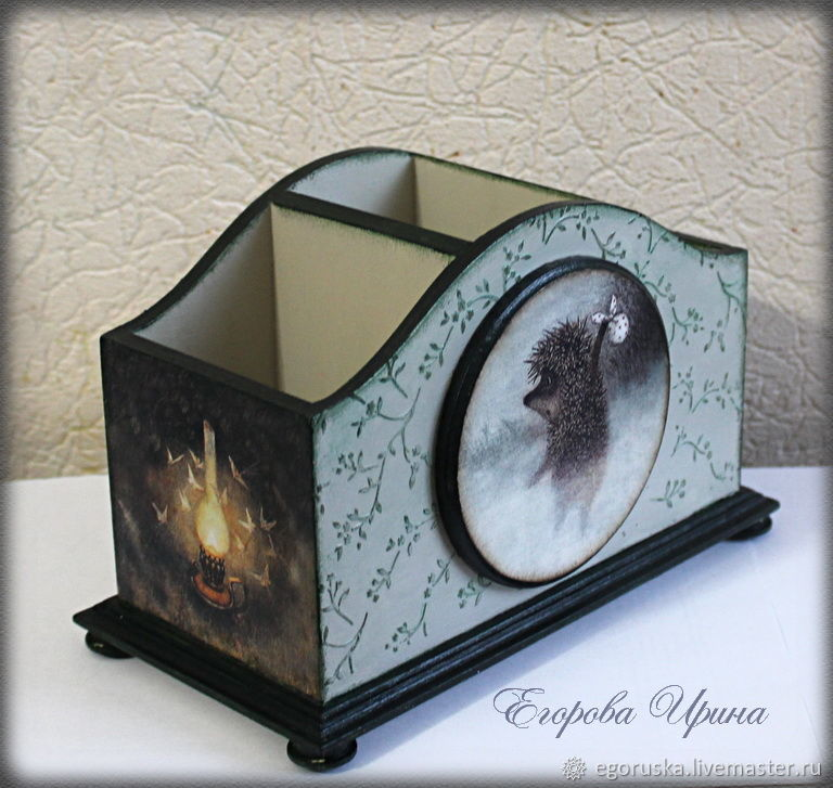 Pencil holder large organizer stand 'Hedgehog in the fog 2', Pencil holders, Moscow,  Фото №1