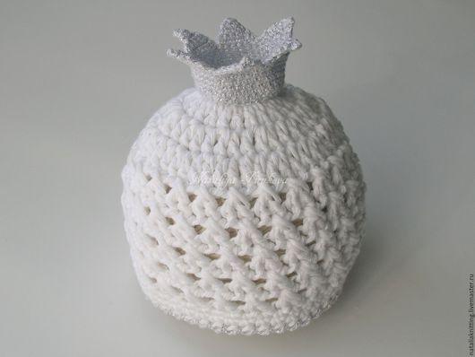 """Для новорожденных, ручной работы. Ярмарка Мастеров - ручная работа. Купить Ажурная шапочка """"Принцесса"""". Handmade. Белый, шапочка с короной"""