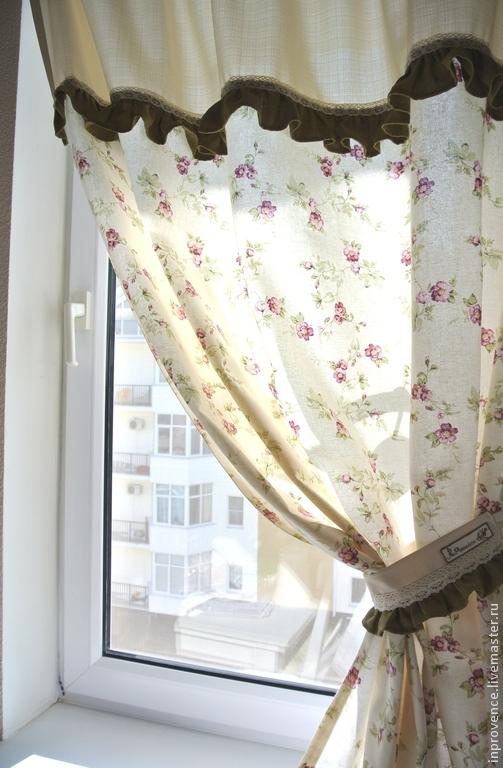 шторы на кухню льняные фото