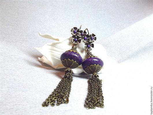 """Серьги ручной работы. Ярмарка Мастеров - ручная работа. Купить Серьги """"Фиолетта"""" в восточном стиле из полимерной глины. Handmade."""