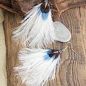 """Украшения ручной работы. Ярмарка Мастеров - ручная работа Белые серьги с перьями """"Тёплые пушинки"""". Handmade."""