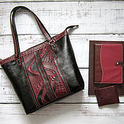 Женская сумка - Yulada Bag Bordo (L) (печворк № 1