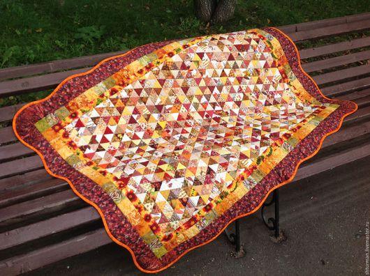 """Текстиль, ковры ручной работы. Ярмарка Мастеров - ручная работа. Купить Лоскутное одеяло """"Бабье лето"""". Handmade. Рыжий"""