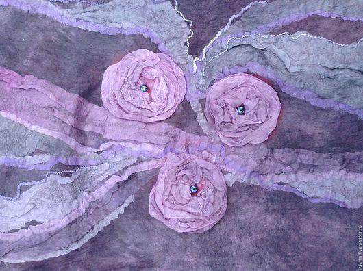 """Шали, палантины ручной работы. Ярмарка Мастеров - ручная работа. Купить Плантин """"Розовое утро"""". Handmade. Разноцветный, валяный палантин"""