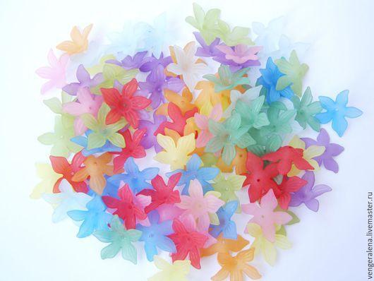 Для украшений ручной работы. Ярмарка Мастеров - ручная работа. Купить Цветочки большие бусины подвески акрил. Handmade. Разноцветный