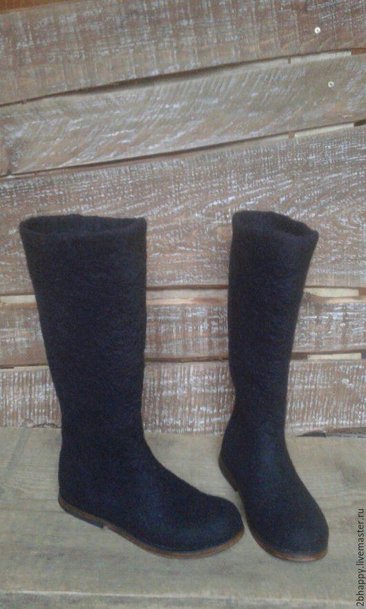 Обувь ручной работы. Ярмарка Мастеров - ручная работа. Купить Валяные полусапожки Наринэ. Handmade. Черный, валяные сапожки