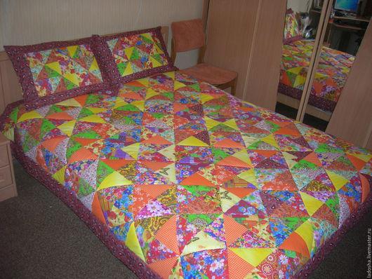 Текстиль, ковры ручной работы. Ярмарка Мастеров - ручная работа. Купить лоскутное покрывало Оранжевое настроение. Handmade. Оранжевый, из треугольников