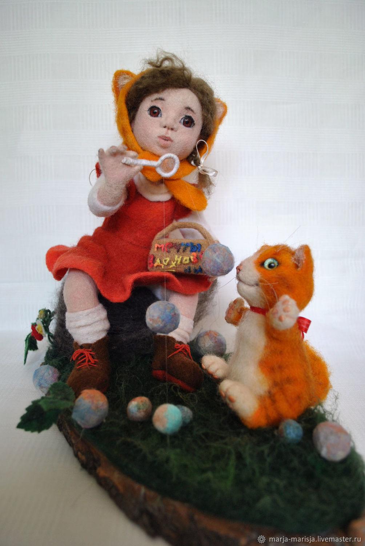 Девочка с котиком, Портретная кукла, Москва,  Фото №1