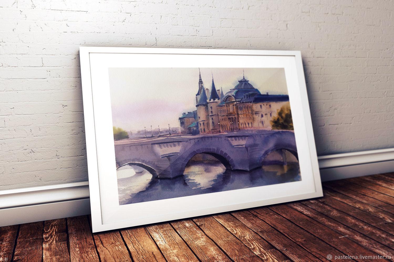 Urban landscape in watercolor Paris Conciergerie (purple beige bridge, Pictures, Yuzhno-Uralsk,  Фото №1