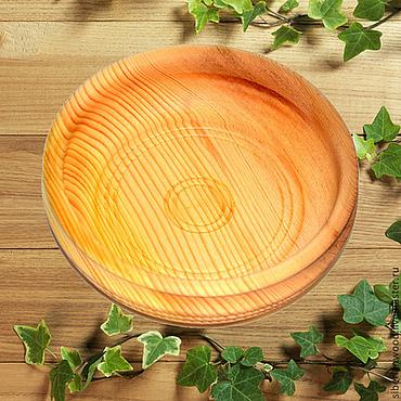 Посуда ручной работы. Ярмарка Мастеров - ручная работа Кедровая тарелочка 16см блюдце из сибирского кедра - ручная работа #T8. Handmade.