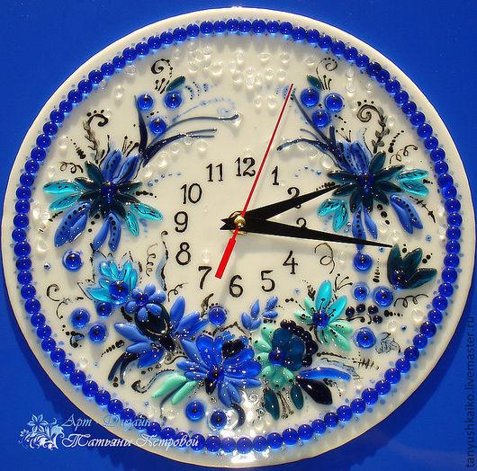 Часы для дома ручной работы. Ярмарка Мастеров - ручная работа. Купить часы ГОЛУБАЯ СКАЗКА, фьюзинг. Handmade. Синий