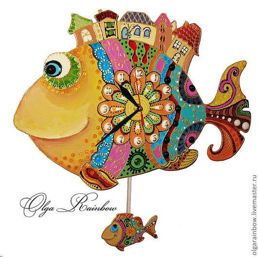 "Часы для дома ручной работы. Ярмарка Мастеров - ручная работа. Купить Часы с маятником ""Чудо-рыбы"". Handmade. Яркая рыба"
