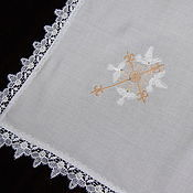 Для дома и интерьера handmade. Livemaster - original item Linen napkin with embroidery and lace