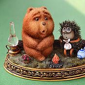 Куклы и игрушки ручной работы. Ярмарка Мастеров - ручная работа Ёжик и Mедвежонок. Handmade.