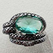 Украшения handmade. Livemaster - original item Silver ring with spinel 13h9 mm and cubic zirconia. Handmade.