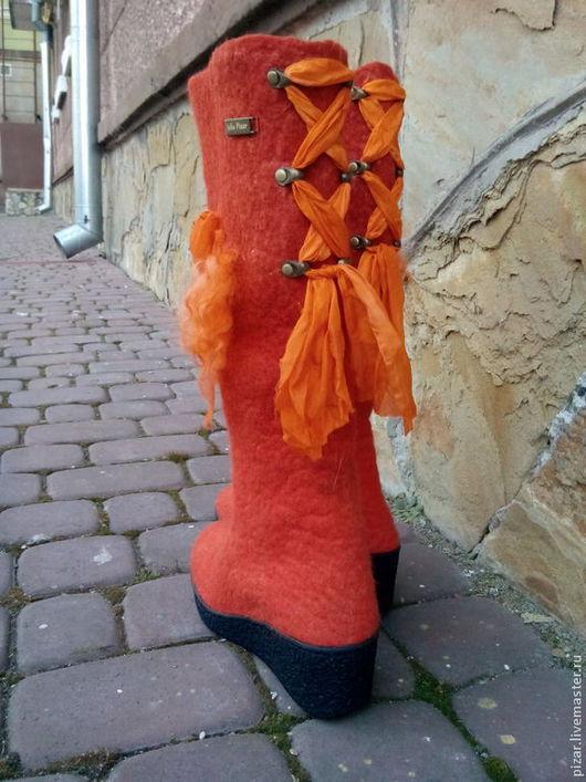 """Обувь ручной работы. Ярмарка Мастеров - ручная работа. Купить Валенки-сапожки """"Терракота"""". Handmade. Оранжевый, сапоги, сапоги женские"""