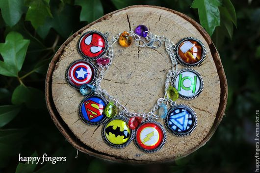 """Браслеты ручной работы. Ярмарка Мастеров - ручная работа. Купить Браслет """"Супергерои""""мстители Marvel DC комиксы avengers. Handmade. Разноцветный"""
