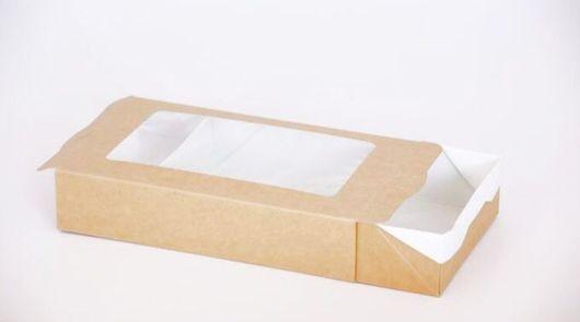 Упаковка ручной работы. Ярмарка Мастеров - ручная работа. Купить Коробка пенал 200x120x40. Handmade. Крафт коробка, коробки с окном