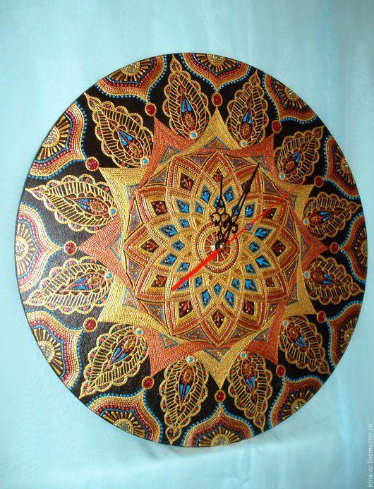 """Часы для дома ручной работы. Ярмарка Мастеров - ручная работа. Купить Часы большие """"Сон Махараджи"""". Точечная роспись. Handmade."""