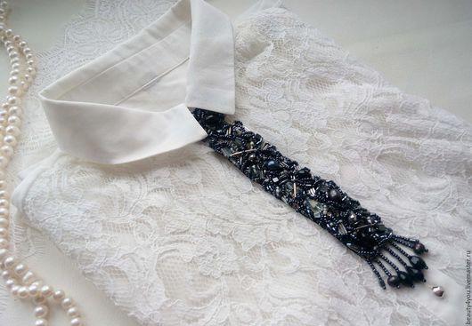 Колье, бусы ручной работы. Ярмарка Мастеров - ручная работа. Купить Колье-галстук с черным жемчугом. Handmade. Черный