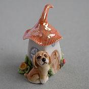 Подарки к праздникам ручной работы. Ярмарка Мастеров - ручная работа Домик с собачкой - напёрсток. Handmade.
