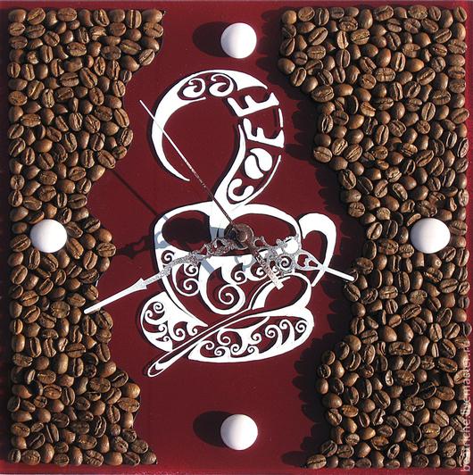 """Часы для дома ручной работы. Ярмарка Мастеров - ручная работа. Купить Часы """"Coffee"""". Handmade. Бордовый, настенные часы"""
