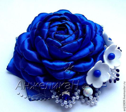 """Броши ручной работы. Ярмарка Мастеров - ручная работа. Купить Брошь """"Аромат небесной розы"""". Handmade. Тёмно-синий, аксессуар"""