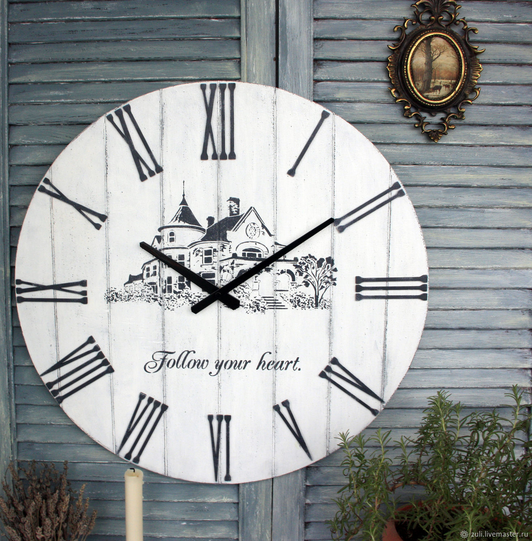 Wall clock ' White. With lock' 53 cm, Watch, Podolsk,  Фото №1