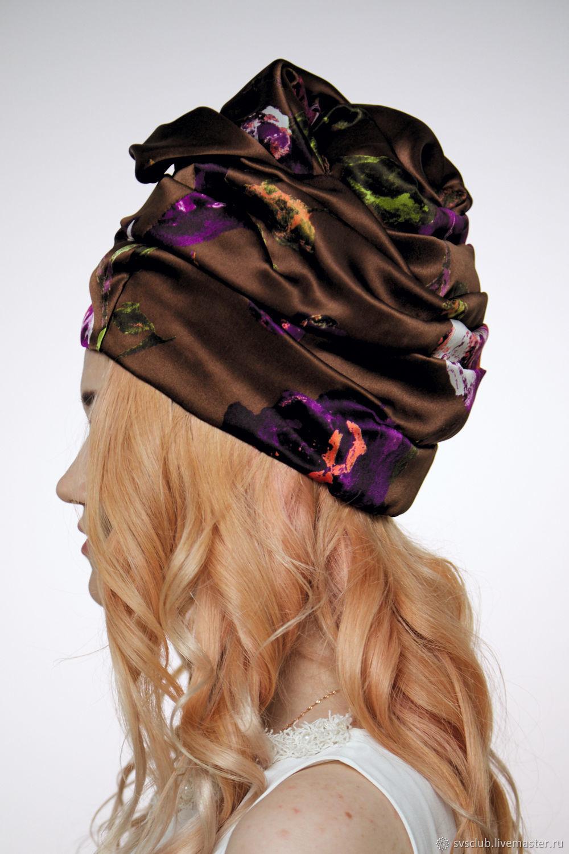 39920dc41b0 Livemaster Hats handmade. Turban hat hijab millinery Brown with flowers. TURBAN  SVS.