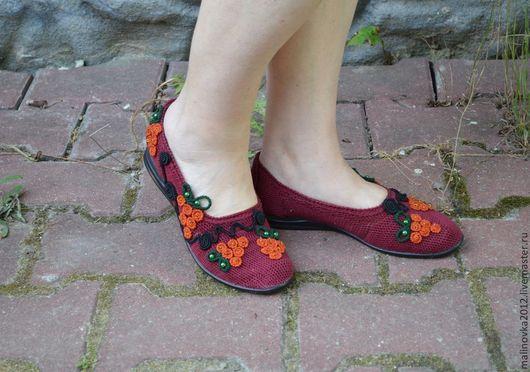 """Обувь ручной работы. Ярмарка Мастеров - ручная работа. Купить балетки""""Рябинки"""" вязаные. Handmade. Бордовый, балетки летние, бисер"""