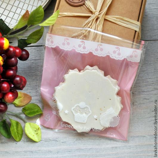 Пакет Печеньки розовый 9х9х3см, 2285