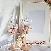 Свадебный салон ручной работы. Ярмарка Мастеров - ручная работа Бокалы розово-персиковая пастель с инициалами из страз. Handmade.