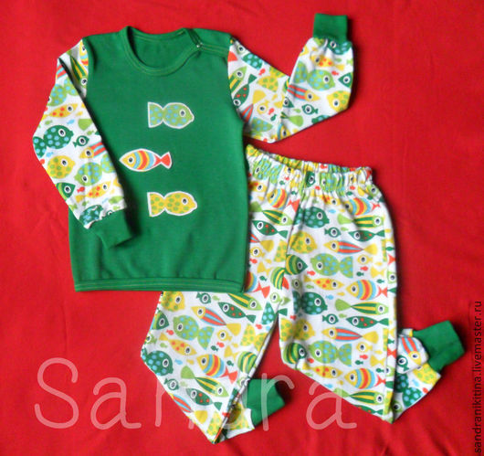 """Одежда унисекс ручной работы. Ярмарка Мастеров - ручная работа. Купить """"Рыбка моя дорогая"""". Пижамка. Handmade. Зеленый, для детей"""