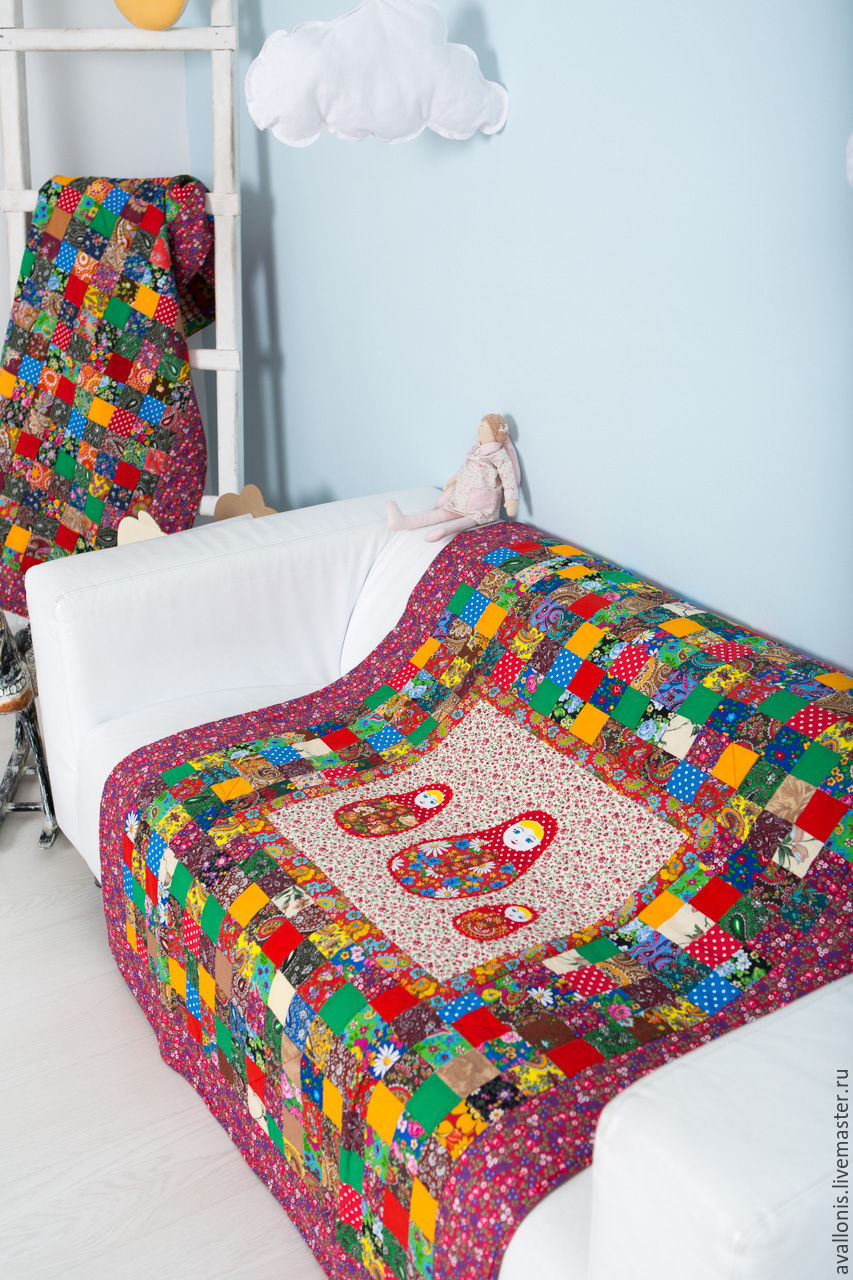 Child'3 Russian Dolls' quilt,cotton blanket, Blanket, Moscow,  Фото №1