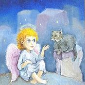 Картины и панно handmade. Livemaster - original item Angel cat and the Inspiration is the painting decor nursery. Handmade.
