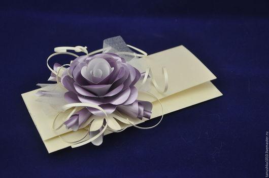 """Конверты для денег ручной работы. Ярмарка Мастеров - ручная работа. Купить конверт """"Роза"""". Handmade. Сиреневый, Дизайнерский картон"""