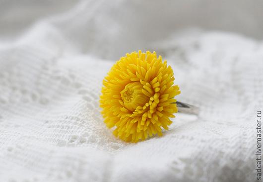 """Кольца ручной работы. Ярмарка Мастеров - ручная работа. Купить Кольцо """"одуванчик"""". Handmade. Цветы ручной работы, одуванчики, лето"""