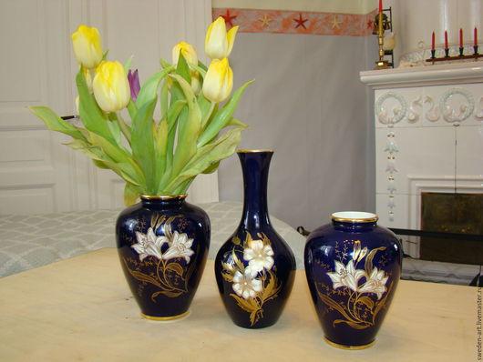 Винтажные предметы интерьера. Ярмарка Мастеров - ручная работа. Купить Bavaria- набор 3шт-фарфоровые вазы -. Handmade. Ваза для цветов